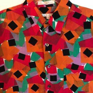Perry Ellis M vibrant squares shirt